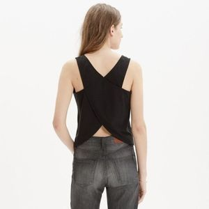 Madewell Black Cross Back Crop Tank Top Size S